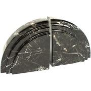 Bey-Berk R10J Bookends, Black Zebra Marble, Mirror Finished