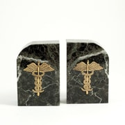 Bey-Berk R10M Medical Bookends, Green Marble, Gold Plated Finish