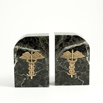 Bey-Berk Medical Bookends, Green Marble, Gold Plated Finish