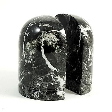 Bey-Berk Bookends, Black Zebra Marble, Glossy Finish