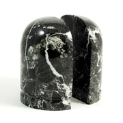 Bey-Berk R10R Bookends, Black Zebra Marble, Glossy Finish