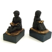 Bey-Berk Reading Boy  and Girl Bookends, Antique Gold and Bronze Finish