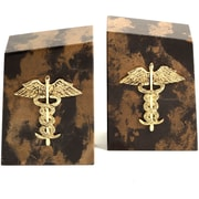 Bey-Berk R11M Medical Bookends, Solid Marble, Gold Plated Finish