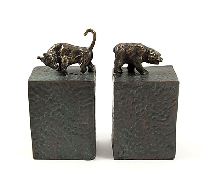 Bey-Berk R11S Bull and Bear Bookends, Cast Metal, Patina Finished