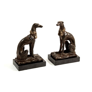 Bey-Berk Whippet Bookends, Cast Metal and Marble Base