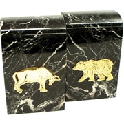 Bey-Berk R15B Stock Market Bookends, Black Marble