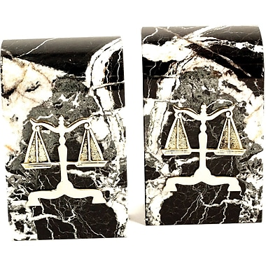 Bey-Berk R15L Legal Bookends, Solid Marble, Gold Plated Finish