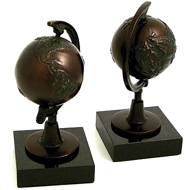 Bey-Berk Globe Bookends, Cast metal and Marble Base, Bronzed