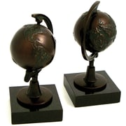 Bey-Berk R15N Globe Bookends, Cast metal and Marble Base, Bronzed
