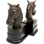 Bey-Berk Horse Bookends,  Brass and Wood, Bronzed