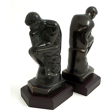Bey-Berk Thinker Bookends, Brass and Wood Base, Bronzed