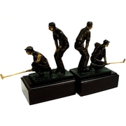 Bey-Berk Dbl Golfers  Bookends, Cast Metal and Wood Base, Bronzed