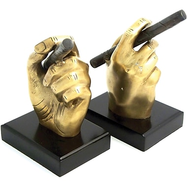 Bey-Berk Cigar Bookends Antique Brass, Wood Base