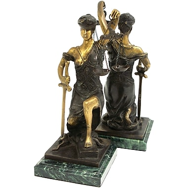 Bey-Berk Kneeling Lady Justice Bookends, Brass and Green Marble Base, Multi-Colored Bronze