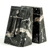 Bey-Berk Fancy Beveled Legal Scale Bookends, Black Zebra Marble, Antique Silver Finish