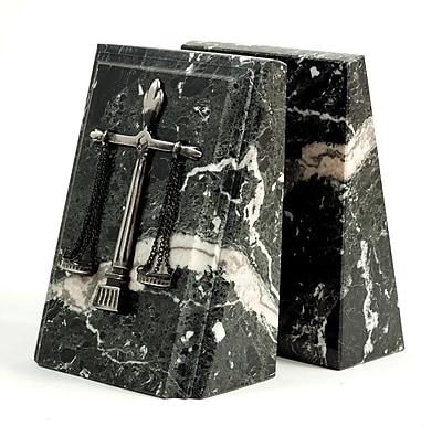 Bey-Berk Fancy Beveled Legal Scale Bookends, Black Zebra Marble, Antique Silver Finish