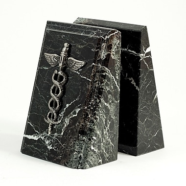 Bey-Berk Fancy Beveled Medical Caduceus Bookends, Black Zebra Marble, Antique Silver Finish