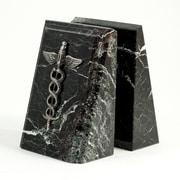 Bey-Berk Fancy Beveled  Medical Caduceus Bookends, Black Zebra Marble, Antique Silver Finish