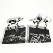 Bey-Berk R19X Bull and Bear Bookends, Solid Brass Chrome Plated, Marble Base