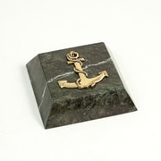 Bey-Berk Green Marble  Gold Plated Paperweight, Anchor