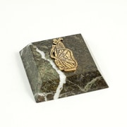 Bey-Berk Green Marble  Gold Plated Paperweight, Golf