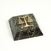 Bey-Berk Green Marble  Gold Plated Paperweight, Legal