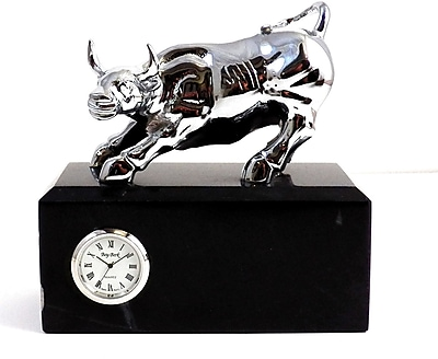 Bey-Berk Silver Brass and Black Marble Bull Clock