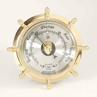 Bey-Berk Brass Ship's Wheel Barometer