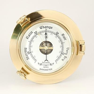 Bey-Berk SB413 Brass Porthole Barometer