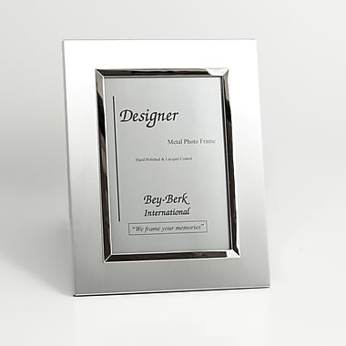 Bey-Berk Brushed Metal Picture Frame, 8