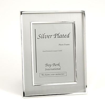 Bey-Berk SF203-12 Silver Plated Brushed Picture Frame, 8