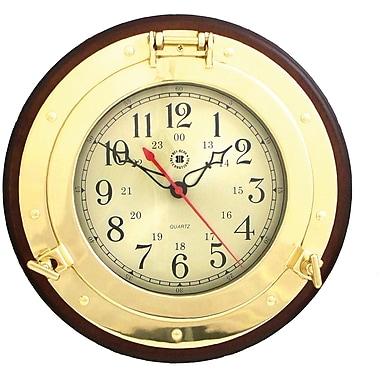Bey-Berk Brass/Solid Wood Porthole Clock