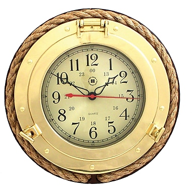 Bey-Berk Porthole Clock with Rope on Solid Wood, Brass (SQ501)