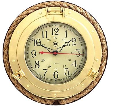 Bey-Berk SQ501 Brass/Wood Analog Porthole Wall Clock, Gold