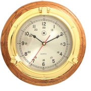 Bey-Berk SQ508 Brass/Oak Porthole Clock