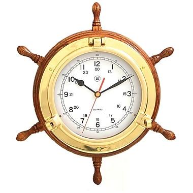Bey-Berk Ship's Wheel Clock, Brass/Oak (SQ509)