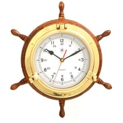 Bey-Berk Brass/Oak Ship's  Wheel Clock