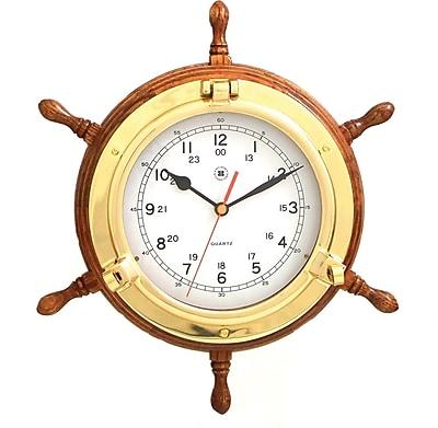 Bey-Berk Brass/Oak Ship's Wheel Clock