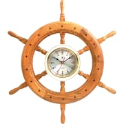 Bey-Berk Wood Analog Wall Clock, Oak