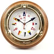 Bey-Berk SQ517 Brass/Oak Porthole Clock With Nautical Numbers