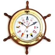 Bey-Berk Brass/Oak Ship's  Wheel Porthole Clock With Nautical Numbers