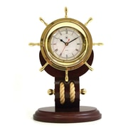 Bey-Berk Brass/Teak Wood  Base Ship's Wheel Clock With Rope