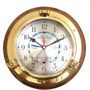 Bey-Berk SQ528 Brass/Oak Porthole Tide and Time Clock