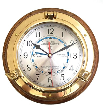 Bey-Berk Brass/Oak Porthole Tide and Time Clock