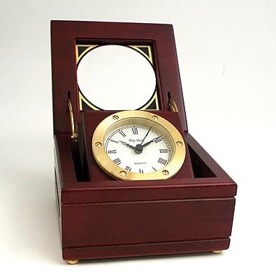 Bey-Berk Solid Brass Mahogany Gimbal Clock 155755