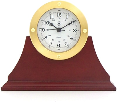 Bey-Berk Gold Tone Mahogany Base Metal Clock