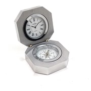 Bey-Berk Stainless Steel  Clock and Compass