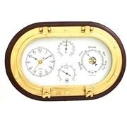 Bey-Berk Brass and  Mahogany Wood Porthole Clock/Barometer/Thermometer/Hygrometer