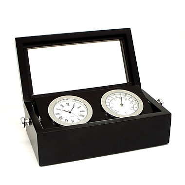 Bey-Berk Chrome Black Box Clock and Thermometer With Glass Top