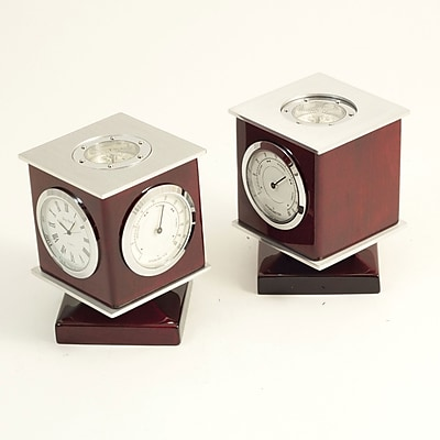 Bey-Berk Swivel Clock/Thermometer/Hygrometer/Compass With Personalization Plate